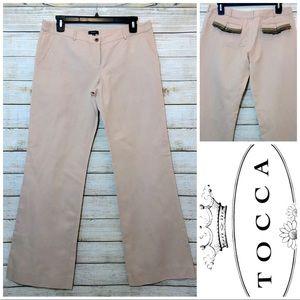 Tocca Designer Wide Leg Linen Blend Tan Pants 4